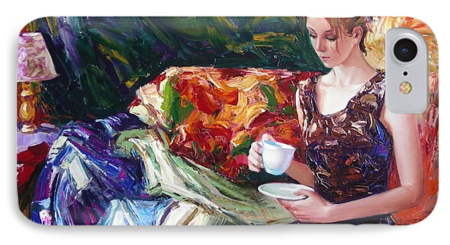 Figurative IPhone 7 Case featuring the painting Evening Coffee by Sergey Ignatenko