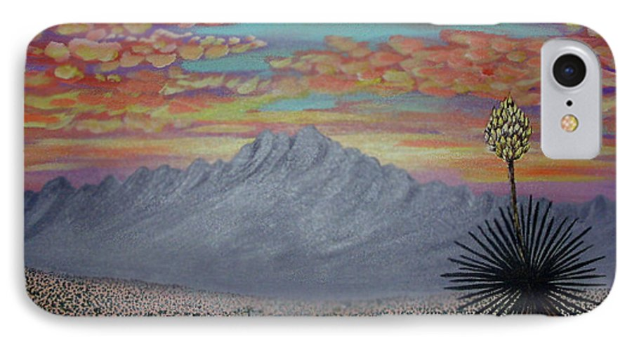 Desertscape IPhone 7 Case featuring the painting Evening In The Desert by Marco Morales