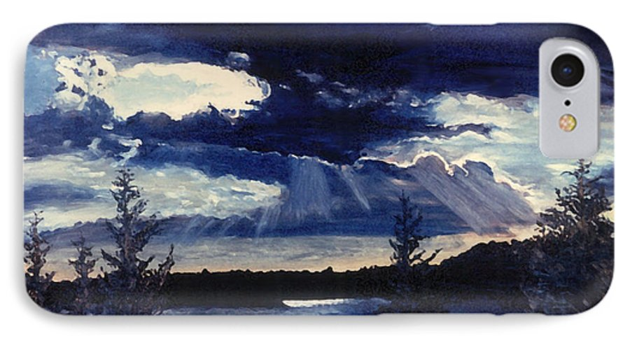 Landscape IPhone 7 Case featuring the painting Evening Lake by Steve Karol