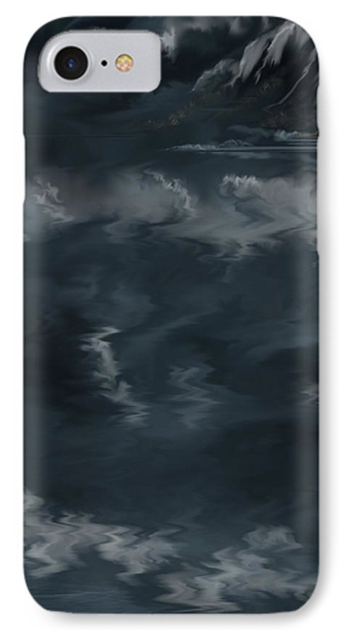 Seascape IPhone 7 Case featuring the painting Evening Lights And Rocks by Anne Norskog