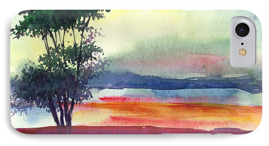 Water Color IPhone 7 Case featuring the painting Evening Lights by Anil Nene