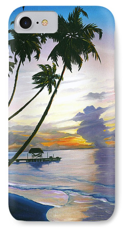 Ocean Painting Seascape Painting Beach Painting Sunset Painting Tropical Painting Tropical Painting Palm Tree Painting Tobago Painting Caribbean Painting Original Oil Of The Sun Setting Over Pigeon Point Tobago IPhone 7 Case featuring the painting Eventide Tobago by Karin Dawn Kelshall- Best