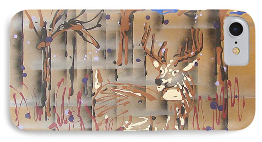 Buck In Tree Line IPhone Case featuring the painting Everwatchful by J R Seymour