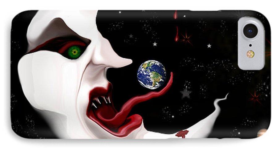 Moon IPhone 7 Case featuring the digital art Evil Moon by Ruben Flanagan