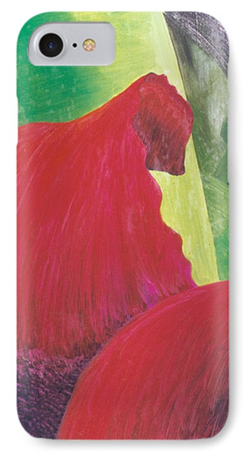 Red IPhone 7 Case featuring the painting Expectations by Christina Rahm Galanis