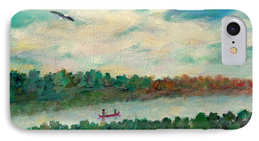 Canoeing On The Big Canadian Lakes IPhone 7 Case featuring the painting Exploring Our Lake by Naomi Gerrard