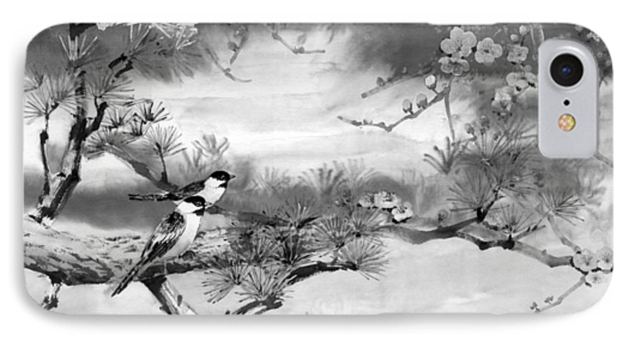 Chinese Painting IPhone 7 Case featuring the painting Expressions Of Spring by Eileen Fong