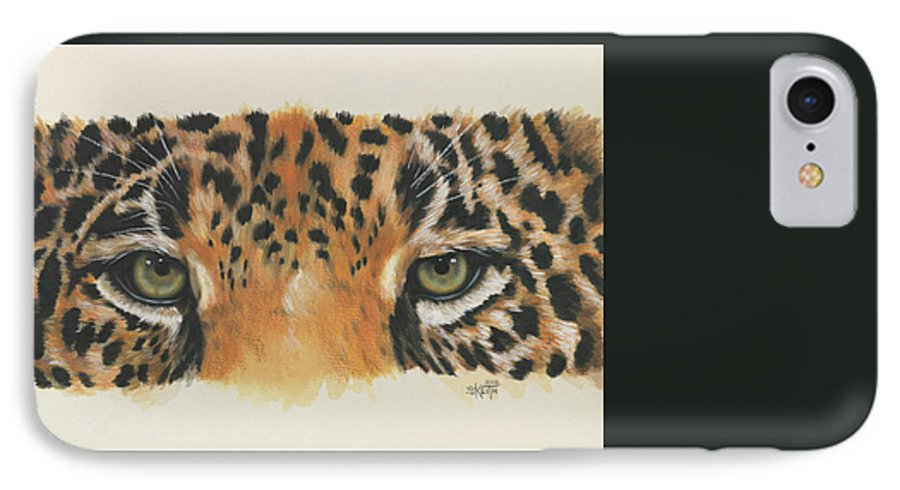 Jaguar IPhone 7 Case featuring the painting Eye-catching Jaguar by Barbara Keith