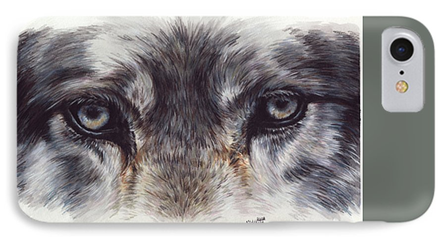 Wolf IPhone 7 Case featuring the painting Eye-catching Wolf by Barbara Keith