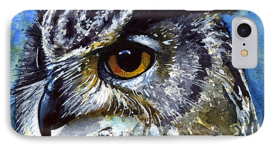 Owls IPhone 7 Case featuring the painting Eyes Of Owls No.25 by John D Benson