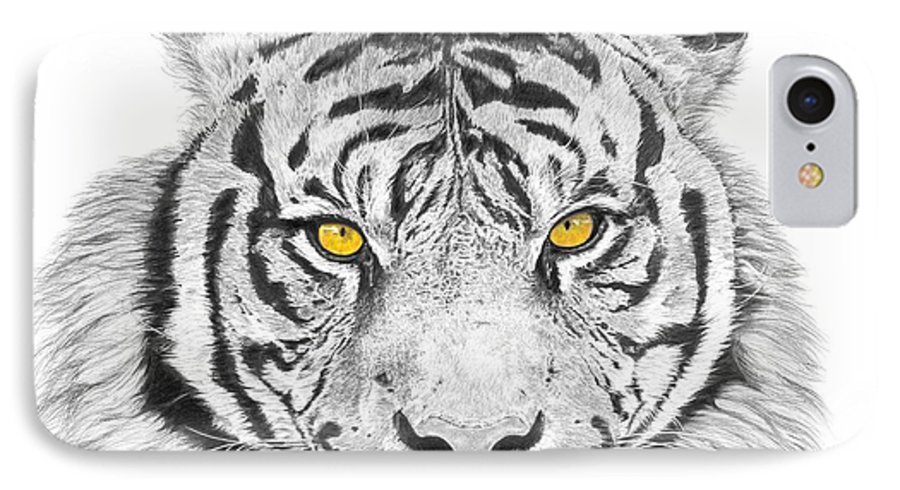 Tiger IPhone 7 Case featuring the drawing Eyes Of The Tiger by Shawn Stallings
