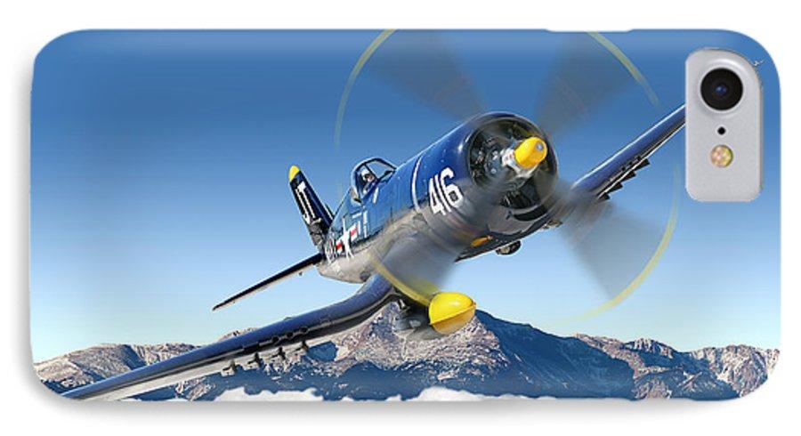 F4-u Corsair IPhone 7 Case featuring the photograph F4-u Corsair by Larry McManus