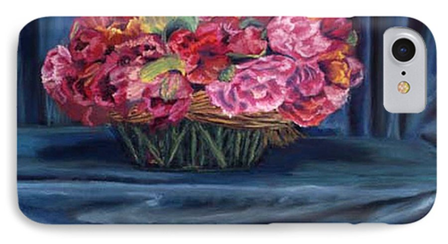 Flowers IPhone 7 Case featuring the painting Fabric And Flowers by Sharon E Allen