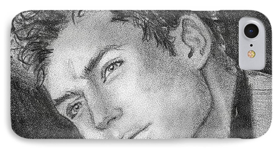 Jude Law IPhone 7 Case featuring the drawing Face by Laura Rispoli