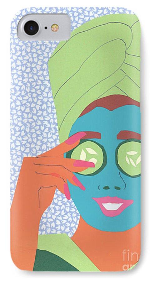 Face IPhone 7 Case featuring the mixed media Facial Masque by Debra Bretton Robinson
