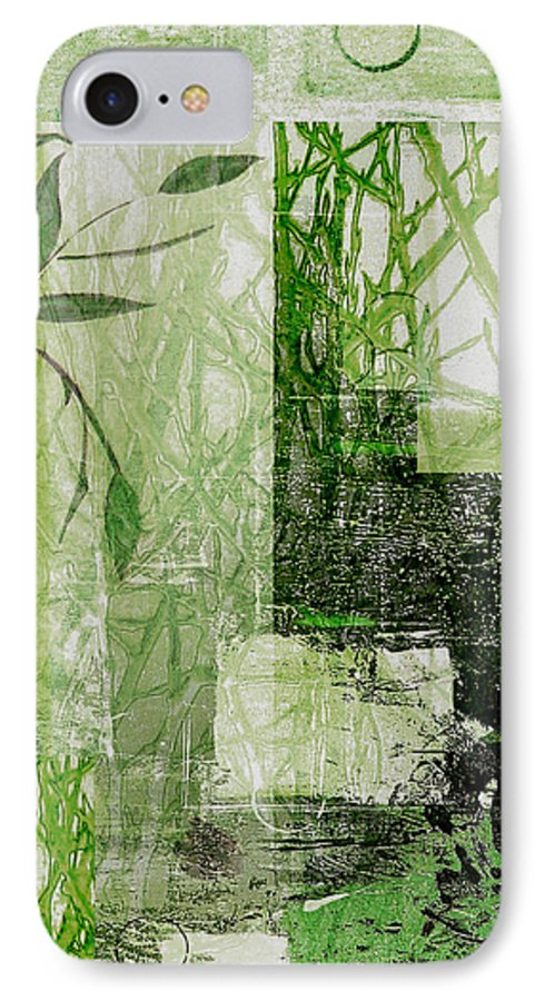 Abstract IPhone 7 Case featuring the mixed media Faded Floral by Ruth Palmer