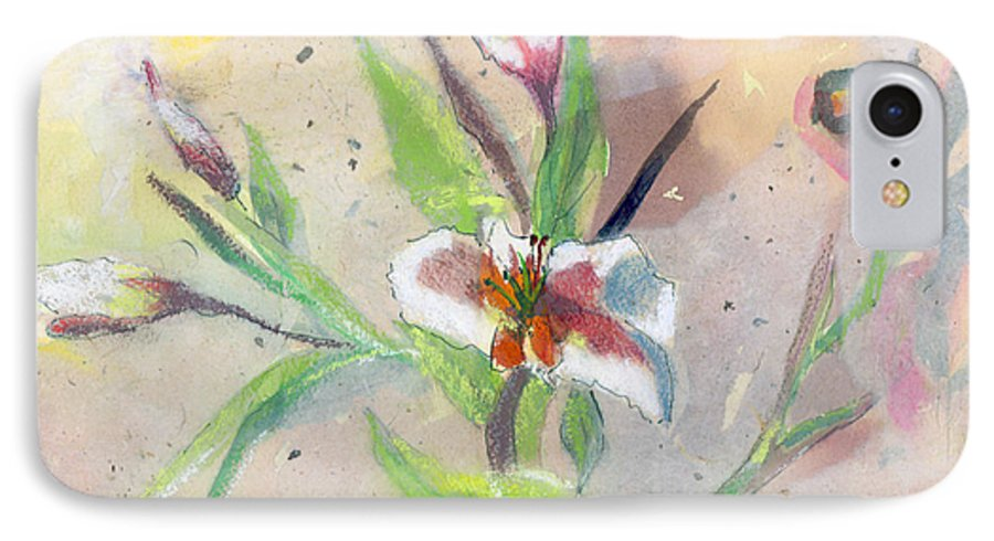 Flower IPhone 7 Case featuring the painting Faded Lilies by Arline Wagner