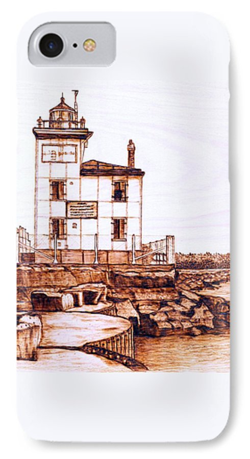 Lighthouse IPhone 7 Case featuring the pyrography Fair Port Harbor by Danette Smith