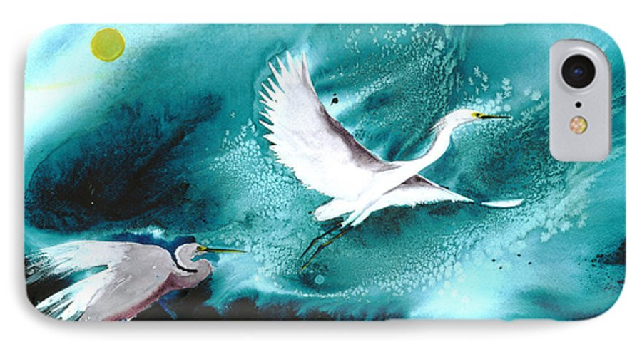 A Pair Of Egrets By The Water At Night- A Watercolor Painting IPhone Case featuring the painting Fairies by Mui-Joo Wee