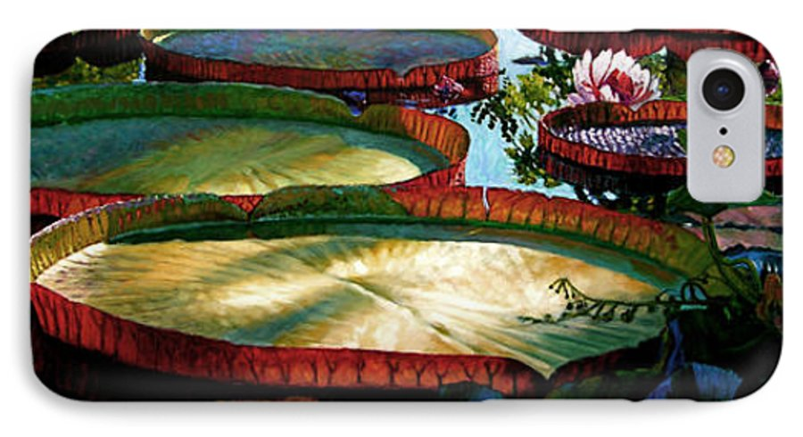 Landscape IPhone 7 Case featuring the painting Fall Colors In The Morning Sun by John Lautermilch