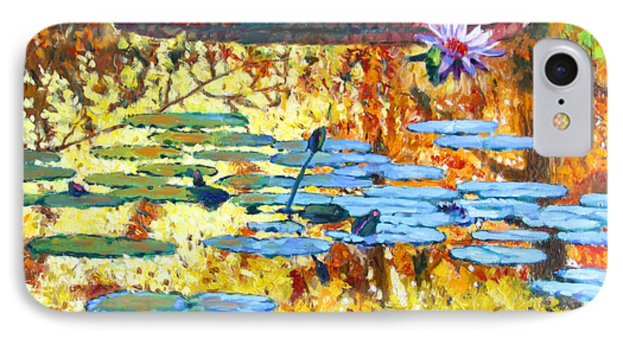 Fall IPhone 7 Case featuring the painting Fall Colors On The Lily Pond by John Lautermilch