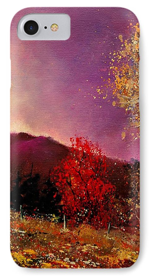 River IPhone 7 Case featuring the painting Fall Colors by Pol Ledent