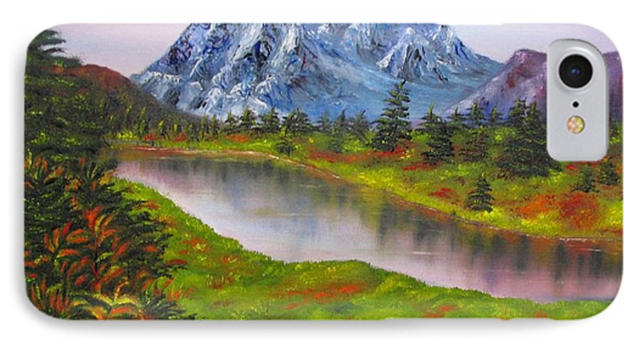 Fall IPhone 7 Case featuring the painting Fall In Mountains Landscape Oil Painting by Natalja Picugina