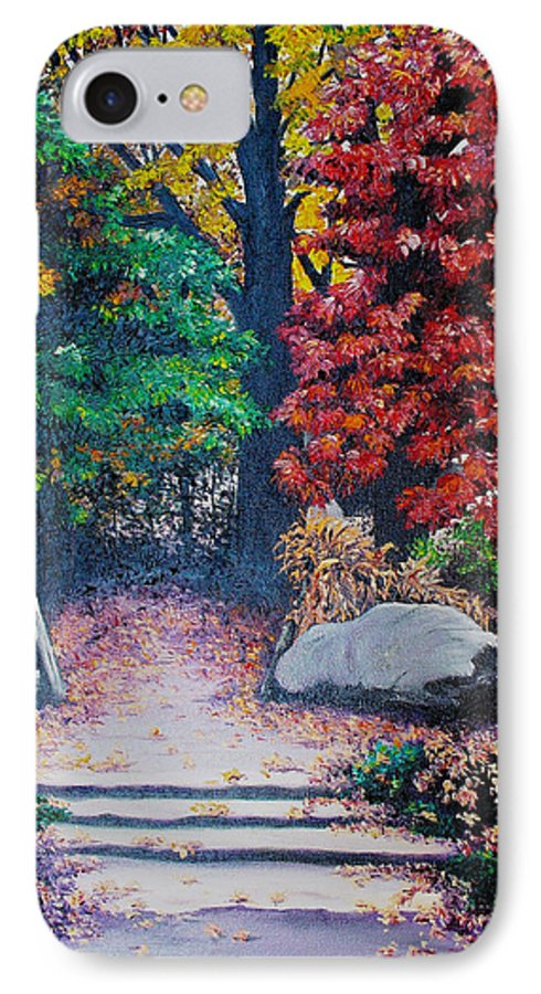 A N Original Painting Of An Autumn Scene In The Gateneau In Quebec IPhone 7 Case featuring the painting Fall In Quebec Canada by Karin Dawn Kelshall- Best
