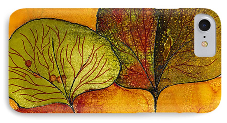 Leaf IPhone 7 Case featuring the painting Fall Leaves by Susan Kubes