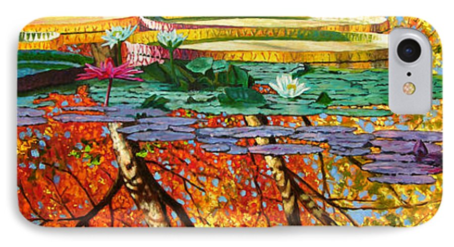 Garden Pond IPhone 7 Case featuring the painting Fall Reflections 2 by John Lautermilch