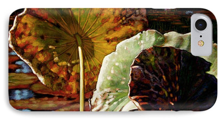 Fall Leaves IPhone 7 Case featuring the painting Fall Trinity by John Lautermilch