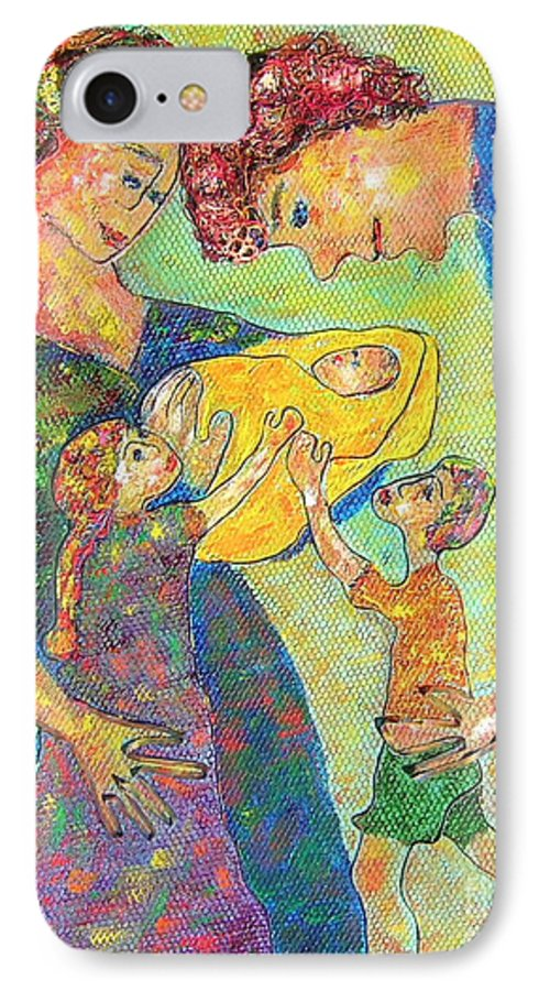 Family Enjoying Each Other IPhone 7 Case featuring the painting Family Matters by Naomi Gerrard