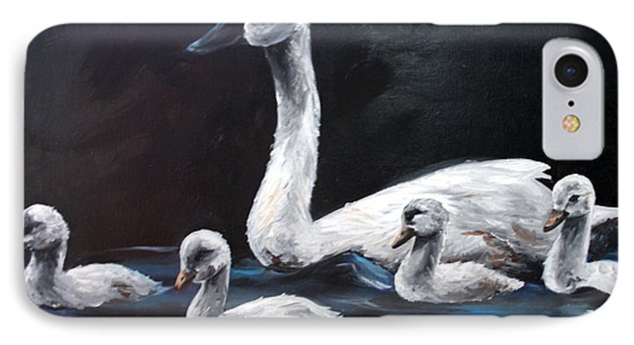 Swan IPhone 7 Case featuring the painting Family Of Swans by Maryn Crawford