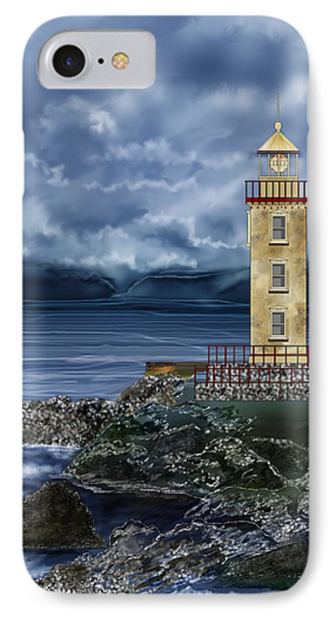 Lighthouse IPhone 7 Case featuring the painting Fanad Head Lighthouse Ireland by Anne Norskog