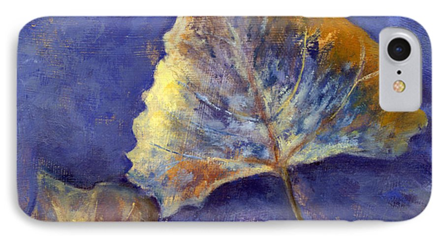 Leaves IPhone 7 Case featuring the painting Fanciful Leaves by Chris Neil Smith