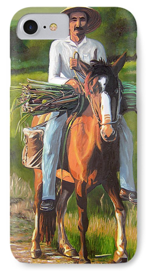 Cuban Art IPhone 7 Case featuring the painting Farmer On A Horse by Jose Manuel Abraham