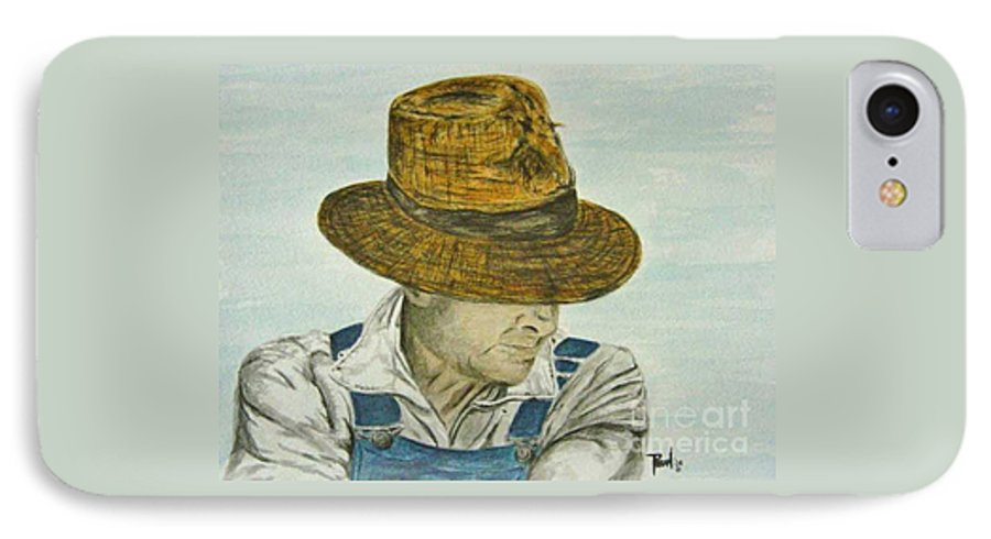 Portrait IPhone 7 Case featuring the painting Farmer Ted by Regan J Smith