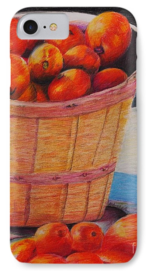 Produce In A Basket IPhone 7 Case featuring the drawing Farmers Market Produce by Nadine Rippelmeyer