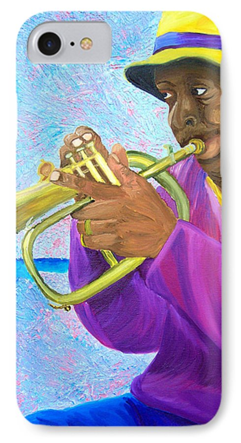 Street Musician IPhone 7 Case featuring the painting Fat Albert Plays The Trumpet by Michael Lee