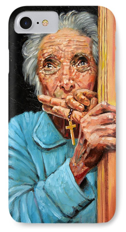 Old Woman IPhone 7 Case featuring the painting Fear And Faith by John Lautermilch