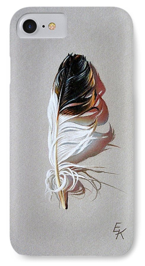 Still Life Feather IPhone 7 Case featuring the drawing Feather And Shadow 3 by Elena Kolotusha