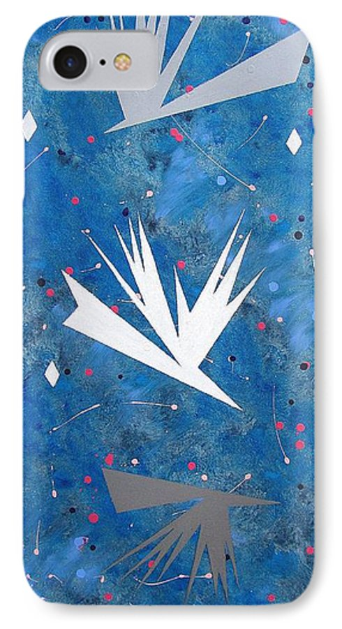 Birds And Diamond Stars IPhone 7 Case featuring the painting Feeding Frenzy by J R Seymour
