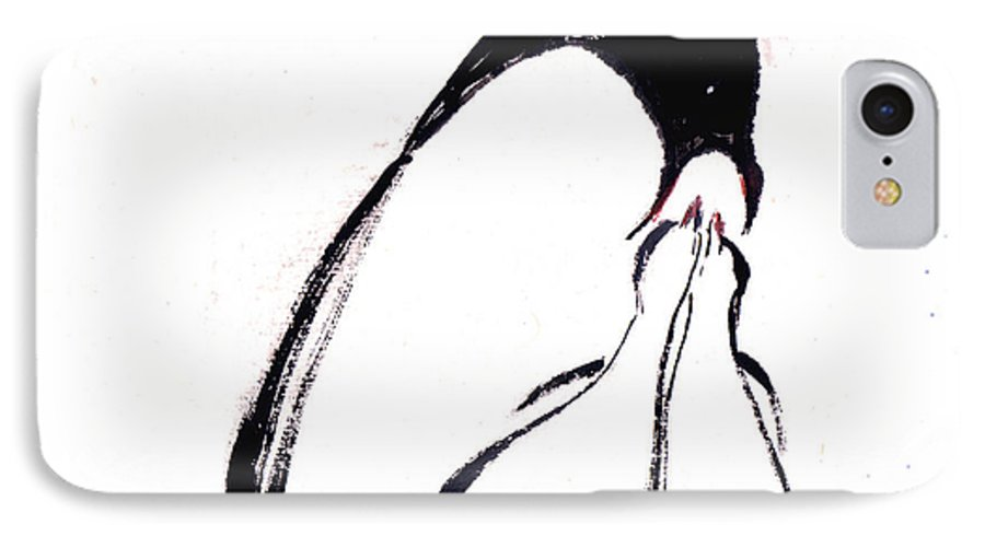 An Adult Penguin Feeding The Babies. This Is A Contemporary Chinese Ink And Color On Rice Paper Painting With Simple Zen Style Brush Strokes.  IPhone 7 Case featuring the painting Feeding by Mui-Joo Wee