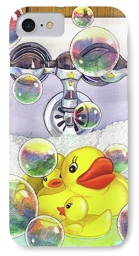 Bubbles IPhone 7 Case featuring the painting Feelin Ducky by Catherine G McElroy