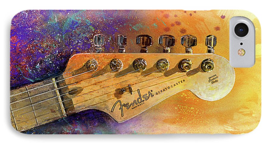Fender Stratocaster IPhone 7 Case featuring the painting Fender Head by Andrew King