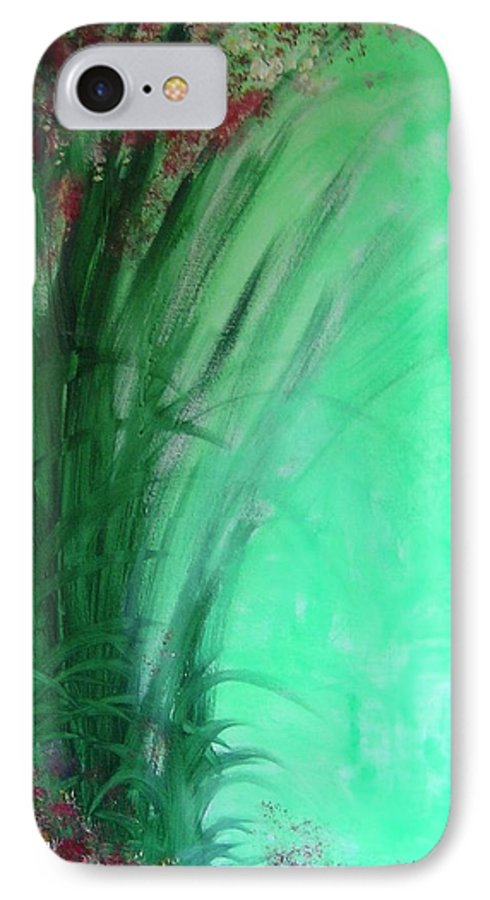 Green Ferns IPhone 7 Case featuring the painting Ferns by Lizzy Forrester