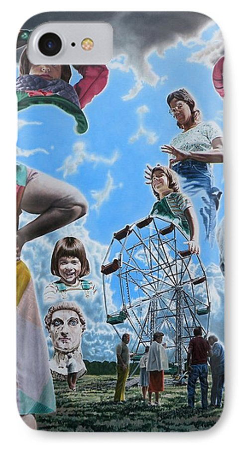 Woman IPhone 7 Case featuring the painting Ferris Wheel by Dave Martsolf