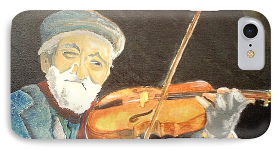 Hungry He Plays For His Supper IPhone 7 Case featuring the painting Fiddler Blue by J Bauer