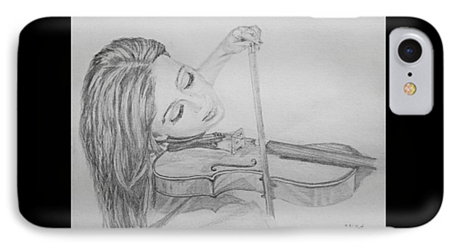 Sketch IPhone 7 Case featuring the drawing Fiddler by Sheryl Gallant