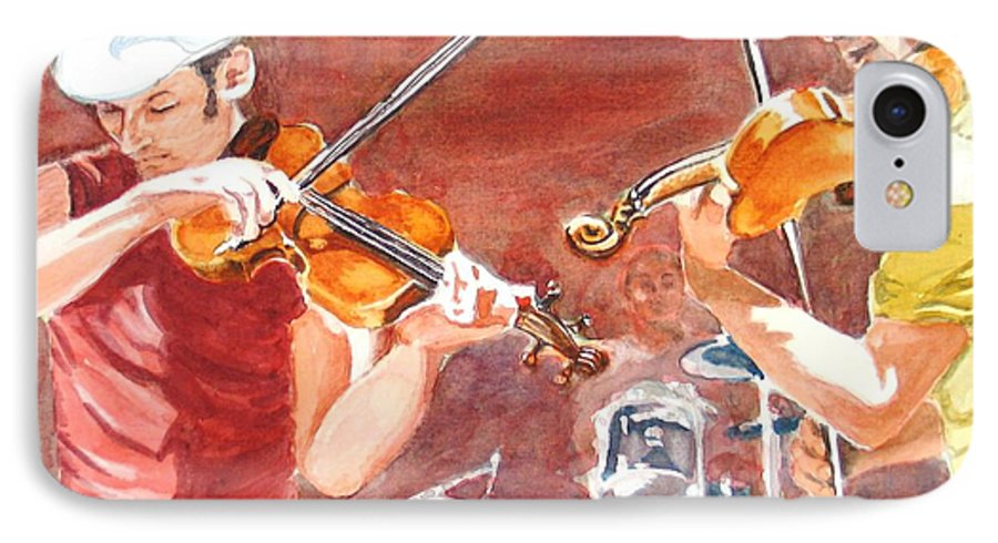 Musicians IPhone 7 Case featuring the painting Fiddles by Karen Ilari